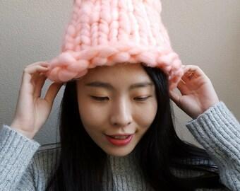 Super Chunky Hat, Pink Hat, Korean Hat, Chunky Yarn Hat