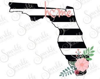 Florida Cut File Stripes Flowers Stripes State Black And White Stripes State Svg Dxf Eps Png Silhouette Cricut Cut File Commercial Use