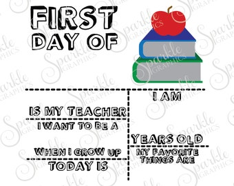 First Day Of School Sign School Kids Elementary School Primary Teacher Clipart Svg Dxf Eps Png Silhouette Cricut Cut File Commercial Use