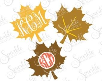Leaf Monogram Frame Set Cut File Leaf Monogram Leaves Fall SVG Autumn Clipart Svg Dxf Eps Png Silhouette Cricut Cut File Commercial Use