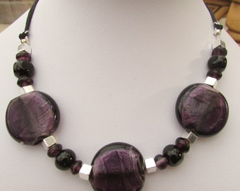 Large purple glass bead necklace