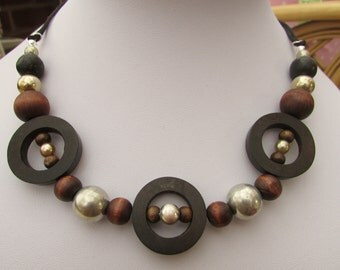 Wooden ring and bead necklace