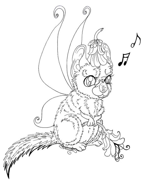 Floof fairy coloring page singing chinchilla by for Chinchilla coloring pages to print