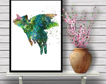 Flying Pig, Art Print, Fantasy Animal, Watercolor Painting, Wall Decor, watercolor print, animal painting, home decor, animal art(01)