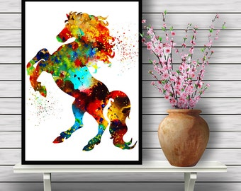 Colorful Horse, Freedom, Wild Horse,watercolor painting, Animal world,Prancing Horse,Room Decor, Nature, Horse, gift,  Instant Download