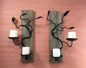 Wall Candle Holder, Candle Sconce, Candle Wall Sconce, Metal Art, Wood Pillar Candle Holder, Metal Sculpture, Blacksmith, Iron Gift for Him