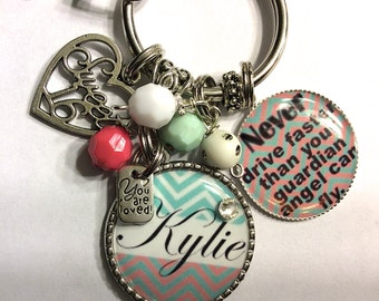 Sweet 16 Gift PERSONALIZED, Sweet Sixteen Keychain, Sixteenth Birthday Gift, Never Drive Faster Than Your Guardian Angel Can Fly, Sweet 16