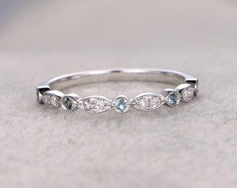 Natural Diamonds and Blue Topaz,Half Eternity Wedding band,14K white gold,Anniversary Ring,Art deco Marquise style,stacking,milgrain