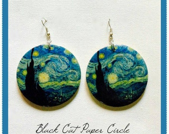 "Earrings ""starry night-tribute to Vincent Van Gogh"""