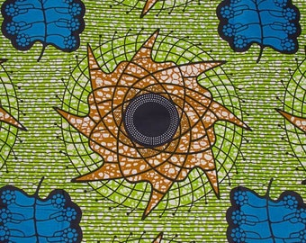Green Blue Brown Leaf Spirals Wax Prints African Ankara Fabric Per Yard