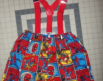 3pc Spider Man Bow/Shorts/Suspenders  12mo, 18mo, 2, 3 and 4T  Toddler    Ready to ship