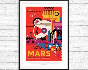 NASA Mars Poster, Mars Art, Planet Mars, Explore Mars, Curiosity Robot, Mars Colony, The Red Planet, Solar System Prints, Mars Colony Prints