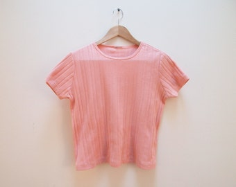 90s Pink Ribbed Tee