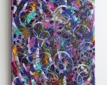 Handmade abstract colorful messy swirls acrylic painting on 12x16 canvas