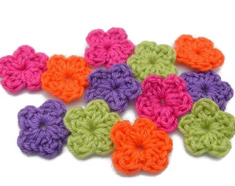 set of 12 crochet flowers Blooming Xsmall