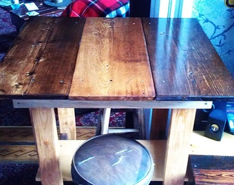 Handmade One of Kind Reclaimed Wood Pub Table - Pine