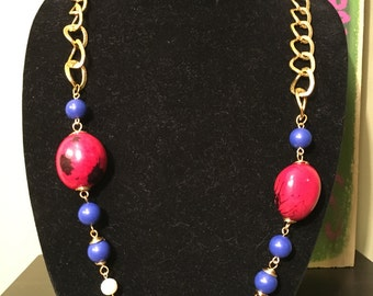 Red Blue Nautical Beads and Seeds Necklace