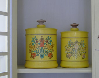Set of Vintage Yellow Canisters