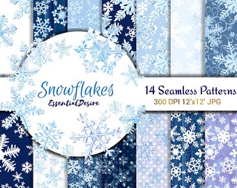 Snowflakes Watercolor Paper Graphics Resources Seamless Patterns Scrapbooking Paper Pack Winter Illustration Planner Stickers Blue PaperPack