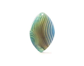 Green, Blue, Brown and White Striped Agate Horse Eye Pendant