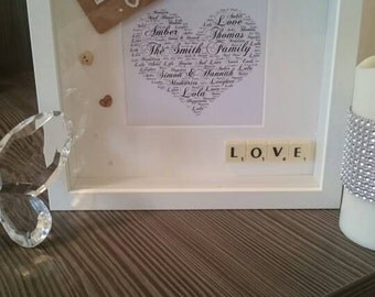 Family frame/gift - Mounted Family Word Art Scrabble Frame With Embellishments