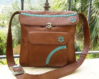 Brown Leather Satchel Bag, Brown Leather Messenger Bag, Brown Crossbody Bag, Leater Handbag,  Brown Shoulder Purse