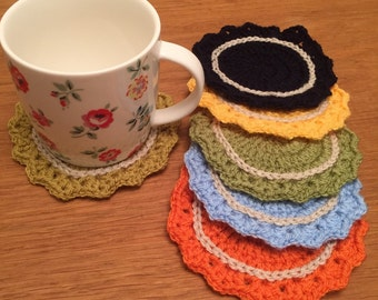 Set of 6 crocheted coasters