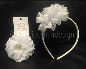 Parisian Lace Flower Clip/Headband - White