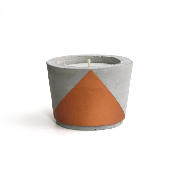 Copper painted concrete scented soy wax candle choose your - Zinken in concrete wax ...