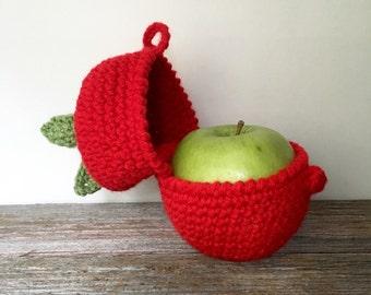 Apple Cozy, Fruit Cozy, Crochet Apple Sleeve, protectove Fruit Carrier, Handmade Protective Apple Cover