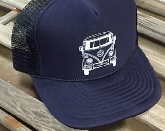 Oldschool Volkswagen Bus Trucker Hat.  Foam front with splitscreen camper van print.  Navy snap back.