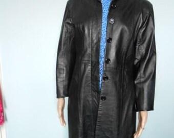 black leather coat size 10