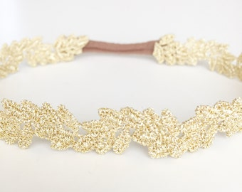 Gold leaf lace baby toddler headband