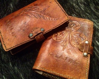 Leather passport wallet - custom, made to order, two internal pockets
