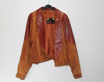 1990's cropped brown real leather jacket (size 12)