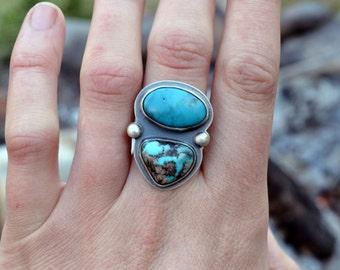 Two Stone Kingman Turquoise Ring, Size 7.25, Balance Ring