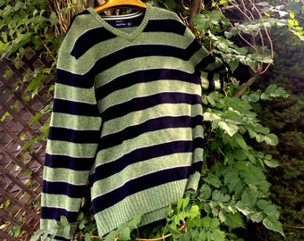 vintage Merino Wool Sweater, Nautica, Preppy, Navy and Green, Striped, XL