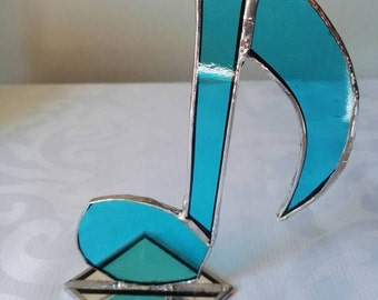 Stained glass musical note, blue musical note, blue glass, glass gift