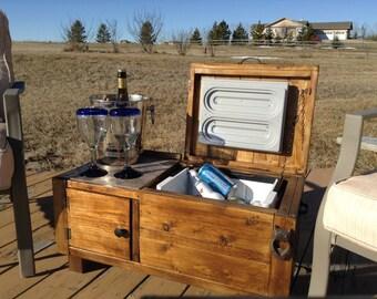 Rustic  outdoor wooden deck cooler