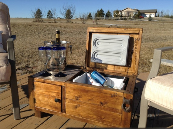 Rustic outdoor wooden deck cooler