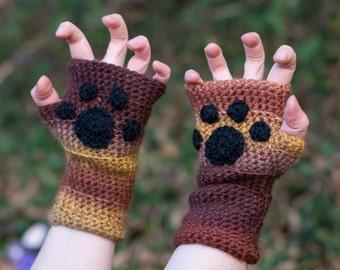 Fox paws crochet fingerless mitts