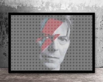 David Bowie Pop Art Ziggy Stardust Counted Cross Stitch Pattern - PDF Digital Download