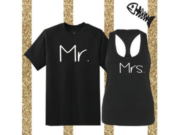 Calligraphy Hubby and Wifey Shirts, Set of hubby and wife shirts, hubby shirt wifey tank combo honeymoon shirts, engagement gift