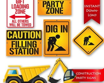 Construction Birthday Party Signs | Wall Art | Decorations {instant download}