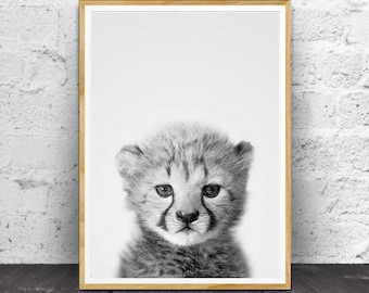 Cheetah Cub Print, Baby Animal Prints, Baby Wall Art, c, Baby Room Decor, Kids Room Decor, Nursery Decor, Black and White, Animal