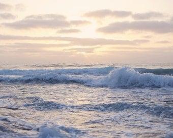 High Tide Pastel Print Pink Sunset Photo California Beach Photography Blue Wave Print Calming Home Decor Meditation Photo Zen Beach Wall Art