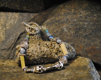 Womens Beaded Bracelet - Silver Beads and Skulls