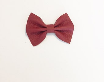 Leather Baby Bow - Toddler Bow - Leather Bow - Scarlet