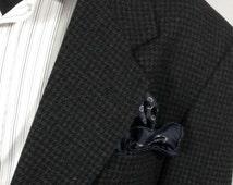 Men's Vintage Wool Black & Gray Houndstooth Blazer Size 44R | 2 Button Sportcoat