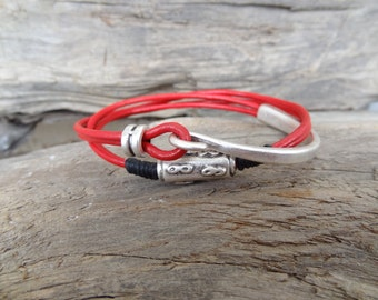 EXPRESS SHIPPING,Women's Wrap Leather Bracelet, Red Leather Bracelet, Half Metal Bracelet, Wrap Bracelet, Mother's Day, Gift for Her
